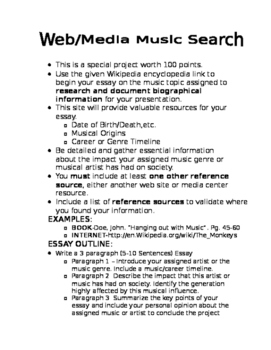 Web Media Music Search Project with Rubric