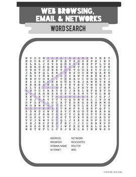 Web Browsing, Email & Networks Vocabulary Activity Packet