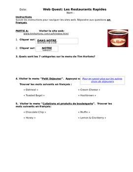 Web-Quest - Tim Hortons & McDonalds