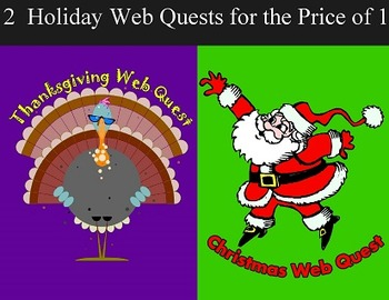 Web Quests for Thanksgiving & Christmas - Computer Skills