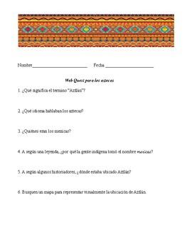 Web Quest in Spanish for Aztlán (Aztecs)