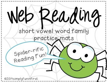 Web Reading Practice Mats {Short Vowel Word Families}
