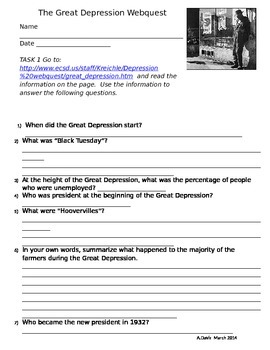 Web-quest Away to the Great Depression