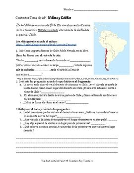 Web research: Isabel Allende_Chile_Contexto: TEMA de AP- Belleza y Estético
