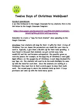 WebQuest - 12 Days of Christmas Math Shopping Challenge