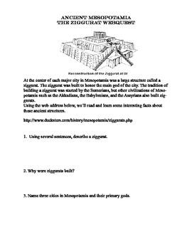 Ancient Mesopotamia-The Ziggurat-Webquest