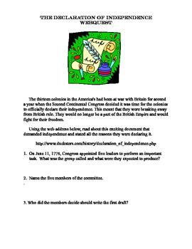Declaration Of Independence- Grades 4-7-WebQuest