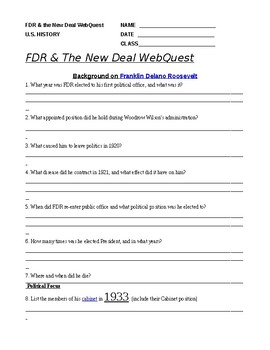 WebQuest FDR and the New Deal