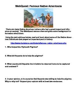 Famous Native Americans- Webquest