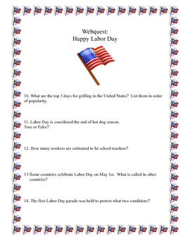 Labor Day-Webquest