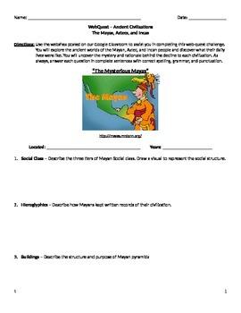 WebQuest - Maya, Aztec, Inca Civilizations