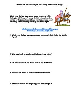 Middle Ages-Becoming a Knight - Webquest