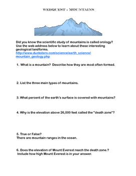 Mountains -WebQuest