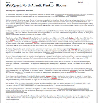WebQuest: Plankton Blooms (Helpful in teaching why EBC's are so plankton rich)