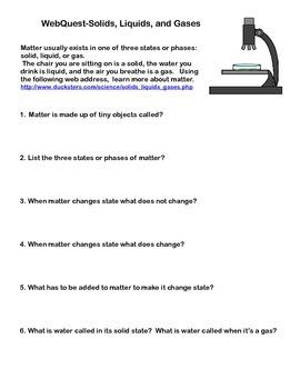 Solids, Liquids, and Gases - Webquest
