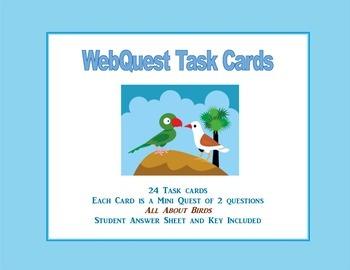 WebQuest Task Cards- Interesting and Unusual Birds Grades 4-7