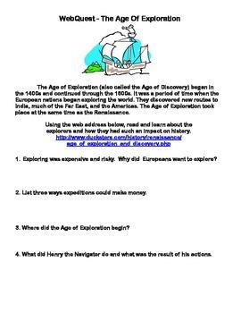 The Age Of Exploration-Webquest