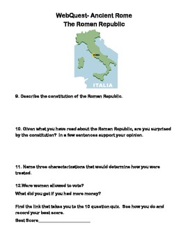 Ancient Rome -  The Roman Republic- Webquest
