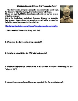 The Terracotta Army-Ancient China - Webquest