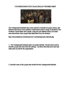 Underground Railroad-Webquest