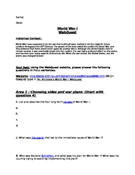 WebQuest: World War I (WWI)