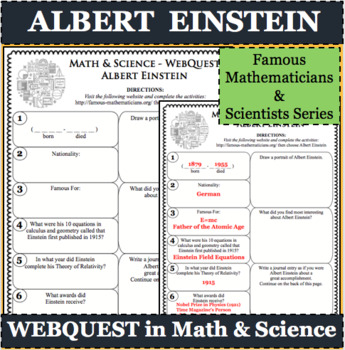 FREE WebQuest in Mathematics & Science - ALBERT EINSTEIN - Famous Mathematician
