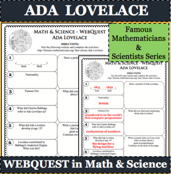 ADA LOVELACE Math Science WebQuest Research Project Biography Graphic Organizer