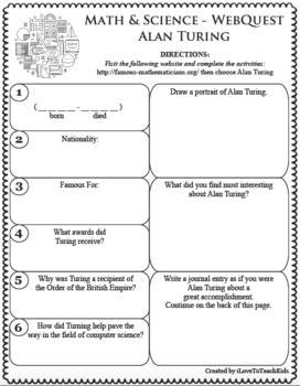 ALAN TURING Math Science WebQuest Research Project Biography Graphic Organizer