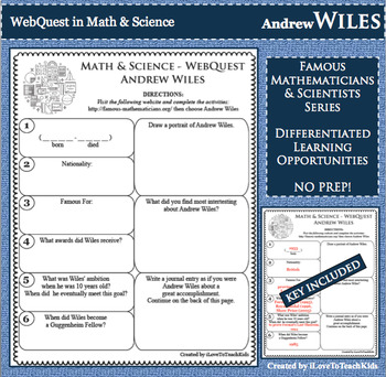 ANDREW WILES Math Science WebQuest Research Project Biography Graphic Organizer