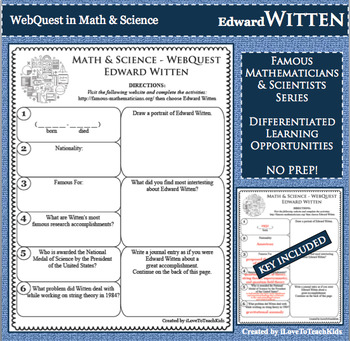 WebQuest in Mathematics & Science - EDWARD WITTEN - Famous Mathematician