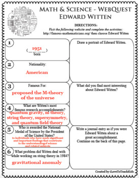 EDWARD WITTEN Math Science WebQuest Research Project Biography Graphic Organizer