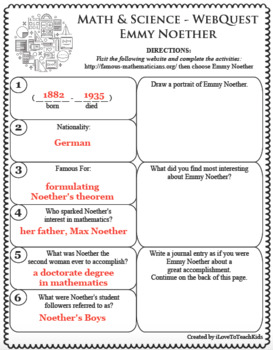 EMMY NOETHER Math Science WebQuest Research Project Biography Graphic Organizer