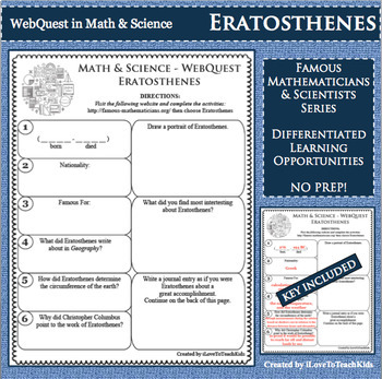 ERATOSTHENES Math Science WebQuest Research Project Biography Graphic Organizer