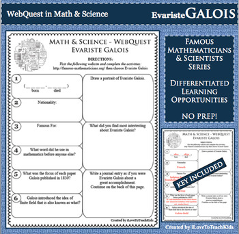 EVARISTE GALOIS Math Science WebQuest Research Project Biography Graphic Notes