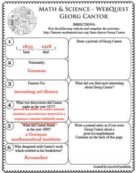 GEORG CANTOR Math Science WebQuest Research Project Biography Graphic Organizer