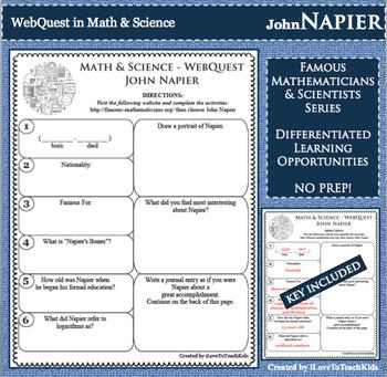 JOHN NAPIER Math Science WebQuest Research Project Biography Graphic Organizer