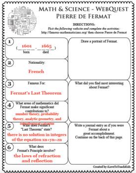 PIERRE DE FERMAT Math Science WebQuest Research Project Biography Graphic Notes