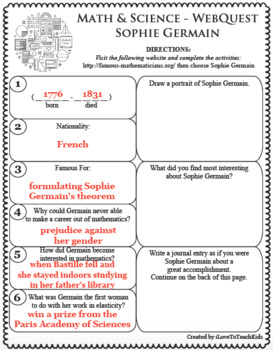 SOPHIE GERMAIN Math Science WebQuest Research Project Biography Graphic Notes