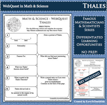 WebQuest in Mathematics & Science - THALES - Famous Mathematician