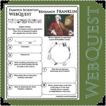 WebQuest in Science - BENJAMIN FRANKLIN - Famous Scientist
