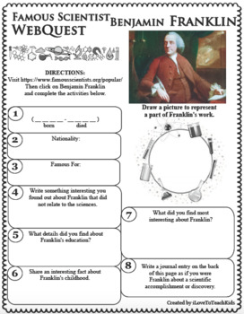 WebQuest in Science - BENJAMIN FRANKLIN - Famous Scientist