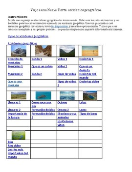 WebQuest in Spanish for Journey to a New Land - land forms, climate, resources
