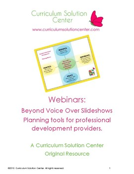 Webinars: Beyond Voice over Slideshows - Planning Tools for PD Providers