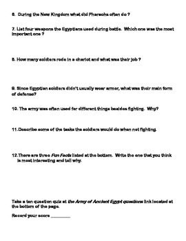 Ancient Egypt-Armies and Soldiers -Webquest