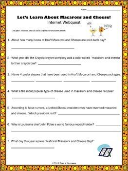 Webquest Fun Food Facts Bundle - Set of 15 Reading Research Activities No Prep
