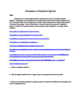 Webquest: Honeybees as Keystone Species