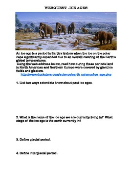 Ice ages webquest by linda mccormick teachers pay teachers ice ages webquest publicscrutiny Image collections