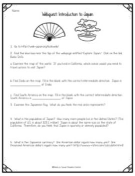 Webquest - Introduction to Japan - Geography, Culture, & Government