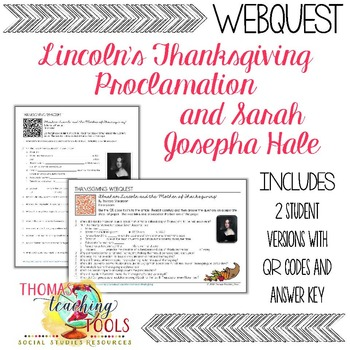Thanksgiving Webquest: Lincoln's Proclamation & Sarah Josepha Hale