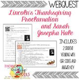 Thanksgiving Webquest: Lincoln's Proclamation & Sarah Jose